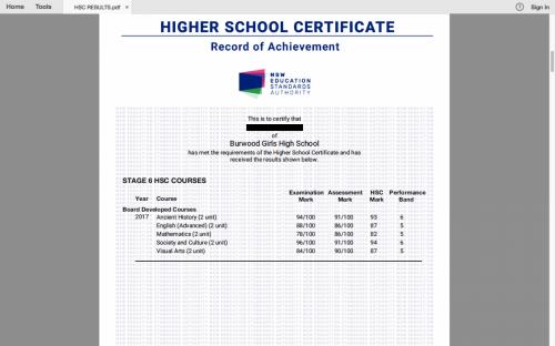2017 HSC result for Boldtutor client from Burwood Girls High School