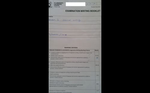 2018 - 14/15 mark for Boldtutor client studying at St Andrews Cathedral School